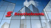 tangerina : December 2017, Editorial use only, 3D animation, The Bank of Nova Scotia, Scotiabank logo on glass building. Stock Footage
