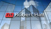 финансы : October 2017, Editorial use only, 3D animation, Robert Half logo on glass building.