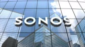 şirket : April 2018, Editorial use only, 3D animation, Sonos Inc. logo on glass building.