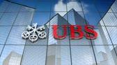 şirket : December 2017, Editorial use only, 3D animation, UBS AG logo on glass building. Stok Video