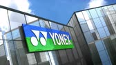 облака : June 2018, Editorial use only, 3D animation, Yonex Co., Ltd. logo on glass building. Стоковые видеозаписи
