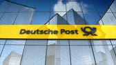 package : December 2017, Editorial use only, 3D animation, Deutsche Post AG logo on glass building.