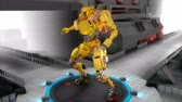 impresionante : 3D CG, Game-like battle robot in fighting pose. Archivo de Video
