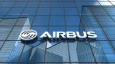 şirket : Editorial use only, 3D animation, Airbus logo on glass building.
