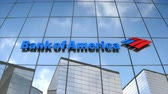 Editorial use only, 3D animation, Bank of America logo on glass building.