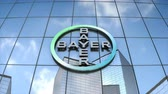 Editorial use only, 3D animation, Bayer AG logo on glass building.