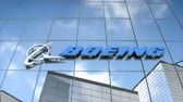 Editorial use only, 3D animation, Boeing logo on glass building. 무비클립