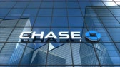 kovalamak : Editorial use only, 3D animation, Chase bank logo on glass building. Stok Video