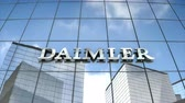şirket : Editorial use only, 3D animation, Daimler AG logo on glass building. Stok Video