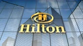 August 2017, Editorial use only, 3D animation, Hilton logo on glass building.