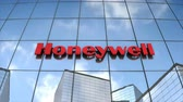 Editorial use only, 3D animation, Honeywell logo on glass building.