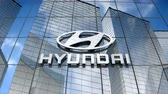 July 2017, Editorial use only, Hyundai Motor logo on glass building. 무비클립