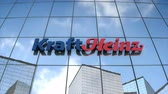 şirket : Editorial use only, 3D animation, KraftHeinz logo on glass building. Stok Video