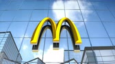 Editorial use only, 3D animation, McDonalds logo on glass building.