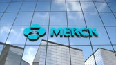 Editorial use only, 3D animation, MERCK & Co logo on glass building.