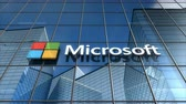 Editorial use only, 3D animation, Microsoft logo on glass building.