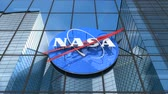 servis : Editorial use only, 3D animation, NASA logo on glass building.