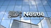 Editorial use only, 3D animation, Nestle logo on glass building. 무비클립