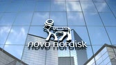 Editorial use only, 3D animation, Novonordisk logo on glass building.