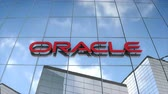 Editorial use only, 3D animation, ORACLE logo on glass building.