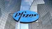 Editorial use only, 3D animation, Pfizer logo on glass building.