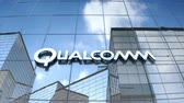 Editorial use only, 3D animation, Qualcomm logo on glass building.