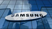 Editorial use only, 3D animation, Samsung logo on glass building.