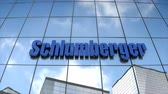 Editorial use only, 3D animation, Schlumberger logo on glass building. 무비클립