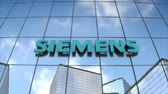 Editorial use only, 3D animation, SIEMENS logo on glass building. 무비클립