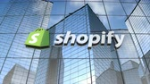 August 2017, Editorial use only, Shopify logo on glass building.