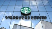 Editorial use only, 3D animation, Starbucks logo on glass building.