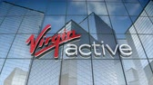 August 2017, Editorial use only, 3D animation, Virgin Active logo on glass building. 무비클립