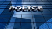 police officers : Police building blue sky timelapse. Stock Footage