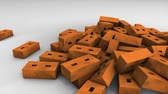 blok : Bricks falling animation, background, red, gravity, fall. Stockvideo