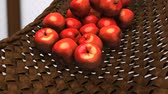 panier : Computer generated, Fresh apples rolling down on bamboo bucket.