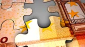 mali : Euro bank note puzzle concept animation. Stok Video