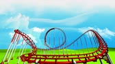 サーカス : Fun park roller coaster animation.