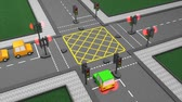 auto : Road traffic light concept animation, car, system. Stockvideo