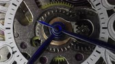 tık : Time lapse macro clip of watch gears and hands moving Stok Video