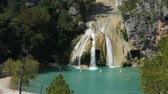 Wide shot of Turner Falls with the natural swimming pool below it Stock Footage