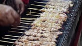 hotový : Handheld shot of beef and chicken slices in skewers barbecued over live hot coals in a small open pit