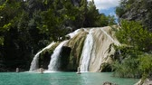 Steady semi-side view shot of Turner Falls on a bright beautiful sunny day Stock Footage