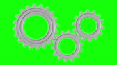 3d rendered animation of rotating gears on green screen