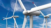 3d rendered animation of wind turbines on sky background