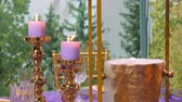 stickstoff : Beautiful purple colour dinner setting with candles and golden color liquid nitrogen bucket against blurred forest background Stock Footage