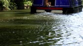 keskeny : Narrow boat moving away rear view with a dog on the floor