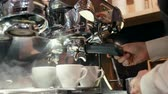 cottura a vapore : Barista è Foaming Milk di Steam nella Metal Jug mentre prepara Coffee Cappuccino nel caffè o nella caffetteria usando Professional Coffee Machine Maker