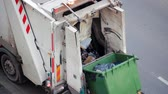 municipal services : Garbage Truck Car Lifting the Container with Trash. Rubbish Collection Vehicle Loading Garbage