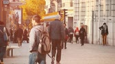 nádherný : Paris, France - November 6, 2017:An inspiring view of tourists going along a picturesque street in Paris in autumn in slo-mo. They look at shopcases in autumn.