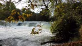 manavgat : Manavgat waterfall in Antalya - Turkey. Stock photography Autumnal ornament, red leaves of maple. Stock Footage